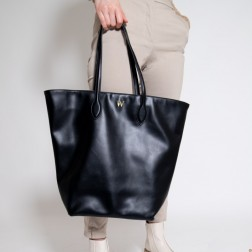 Cabas noir effet cuir -...